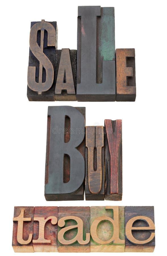 Vendita, buy e commercio fotografia stock