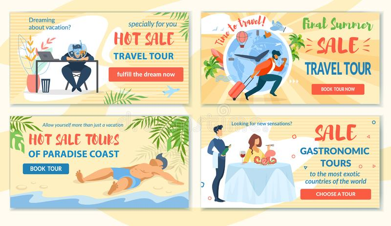 Vendita calda dei buoni stabiliti e giro finale di viaggio di estate illustrazione di stock