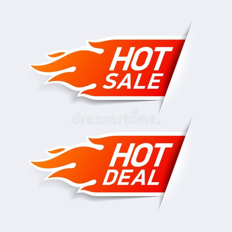 Vendita calda ed etichette calde di affare illustrazione di stock