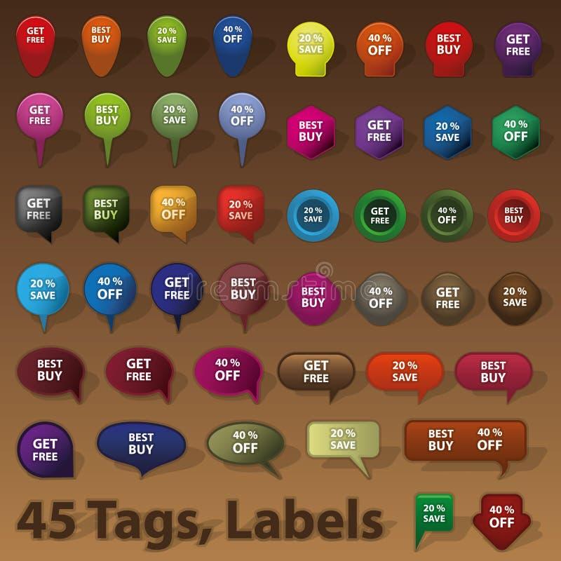 Vendita dei distintivi, etichette, contrassegni illustrazione vettoriale