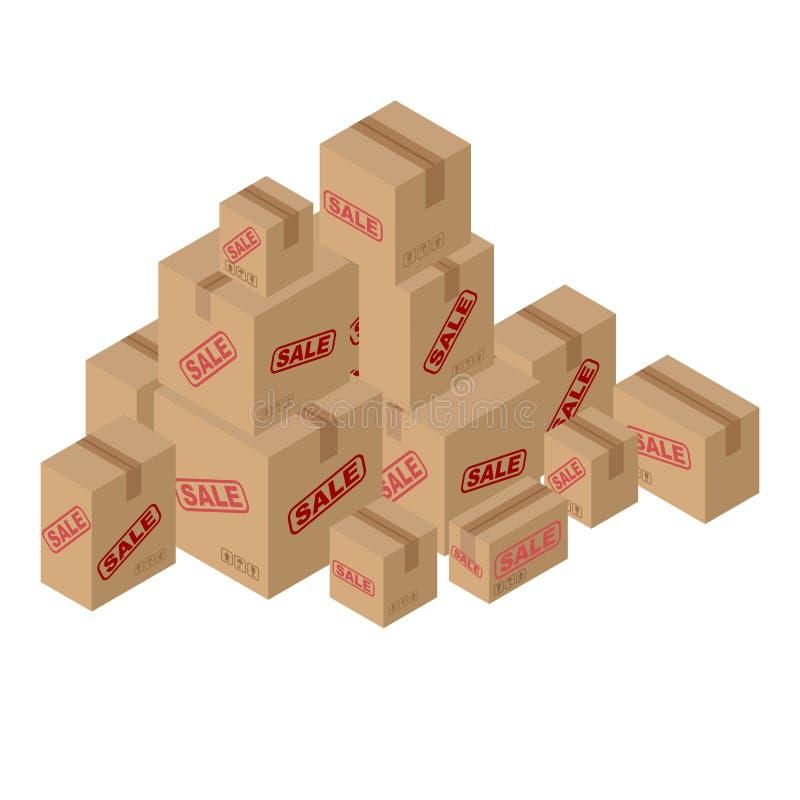 Vendita del lotto delle scatole di cartone Insieme di carta che imballa per le merci illustrazione di stock