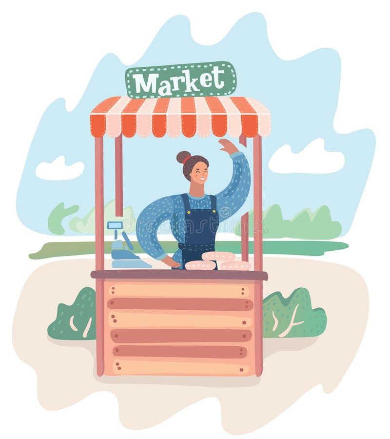 Vendita dell'azienda agricola nel mercato, royalty illustrazione gratis