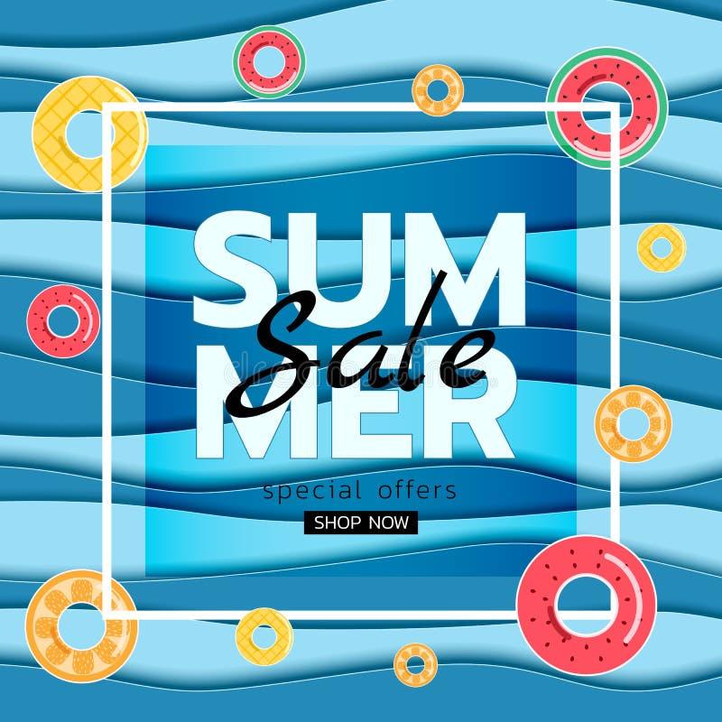 Vendita dell'insegna di estate La carta blu del mare di vista superiore ondeggia con l'anello di gomma della frutta Stile stagion royalty illustrazione gratis