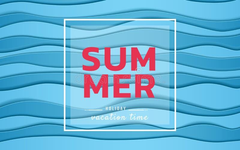 Vendita dell'insegna di estate Onde blu della carta del mare di vista superiore Stile stagionale del taglio della carta di pubbli illustrazione di stock