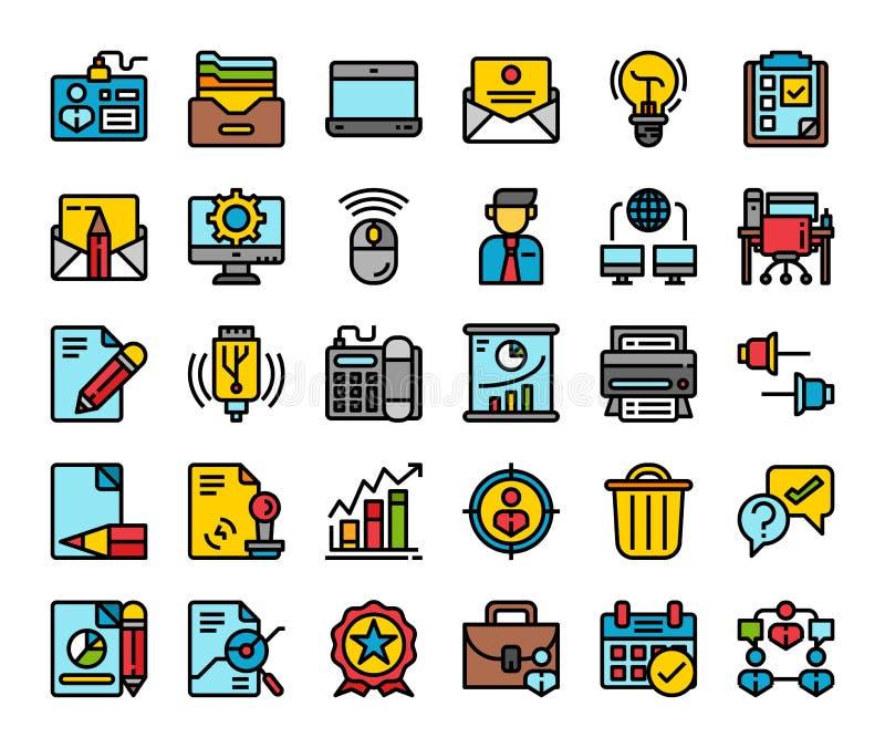 Vendita dell'ufficio di affari e linea piana icone di comunicazione Concetto di progetto di simbolo di servizio della societ? royalty illustrazione gratis