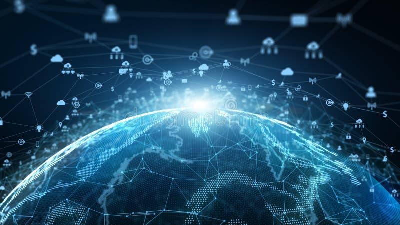 Vendita della rete della connessione dati della rete di tecnologia e concetto cyber di sicurezza Elemento della terra ammobiliato illustrazione vettoriale