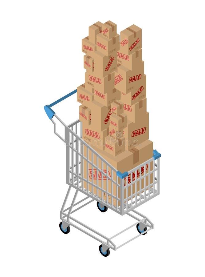 Vendita della scatola e del carrello Comperando al supermercato Molte caselle illustrazione di stock