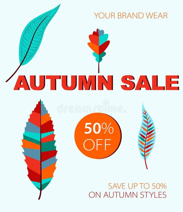 Vendita di autunno dalle foglie colorate fotografia stock
