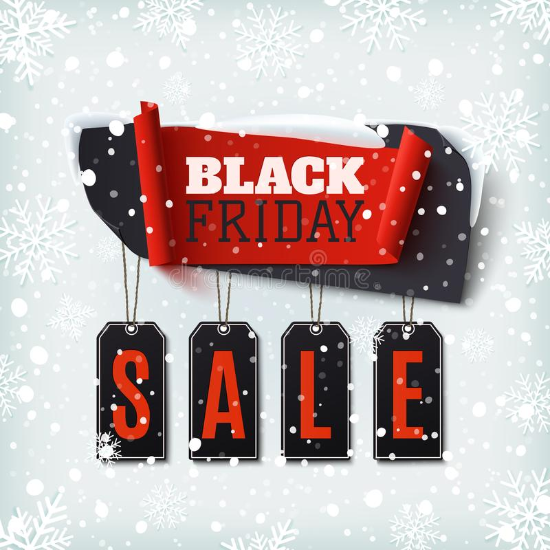 Vendita di Black Friday, insegna astratta con i prezzi da pagare illustrazione vettoriale