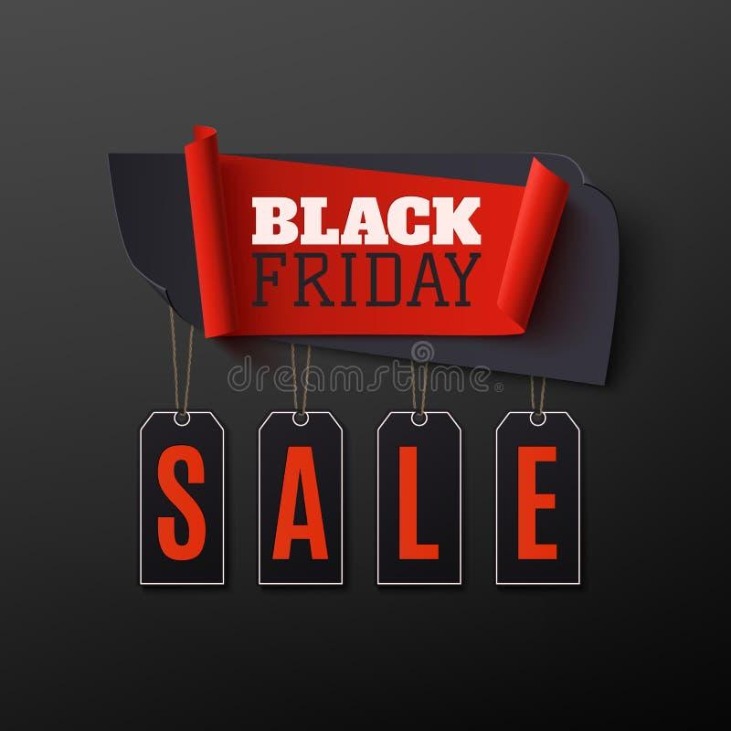 Vendita di Black Friday, insegna astratta su fondo nero royalty illustrazione gratis