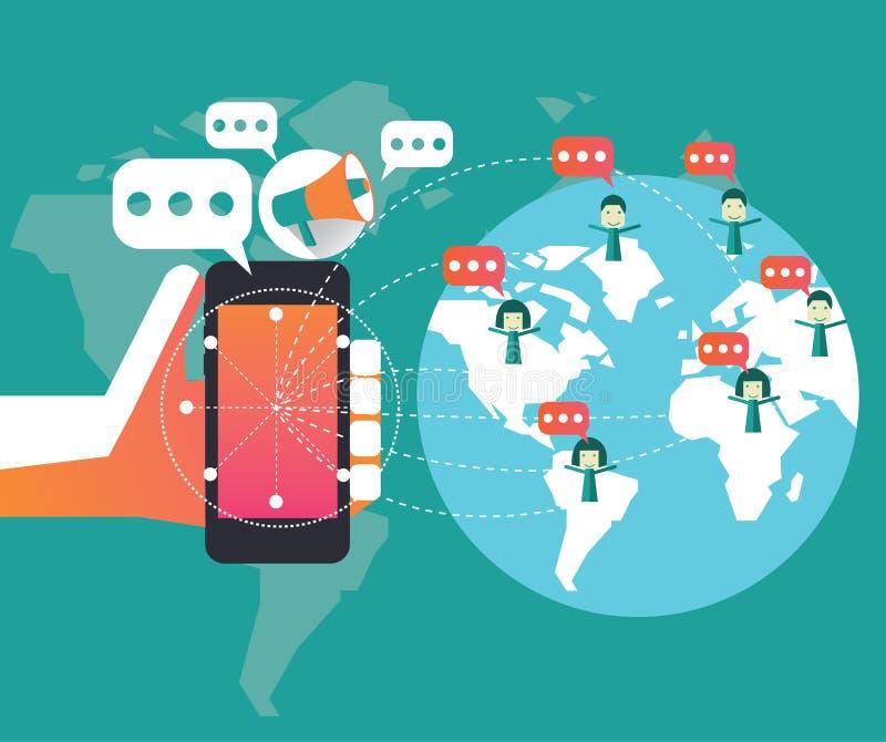 Vendita di Digital e concetto della rete sociale Elemento piano di progettazione illustrazione vettoriale
