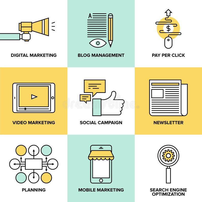 Vendita di Digital ed icone piane di pubblicità illustrazione vettoriale