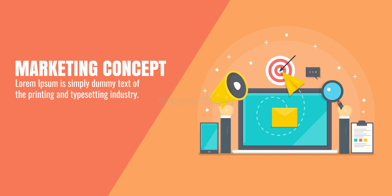 Vendita di Digital, pubblicità di Internet, promozione contenta, seo, media sociali che commercializzano concetto Insegna piana d royalty illustrazione gratis