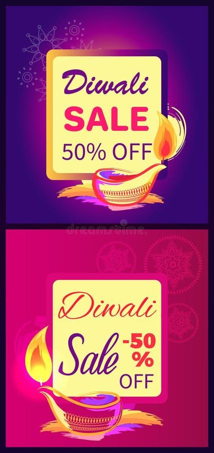 Vendita -50 di Diwali fuori dall'illustrazione di vettore del segno royalty illustrazione gratis