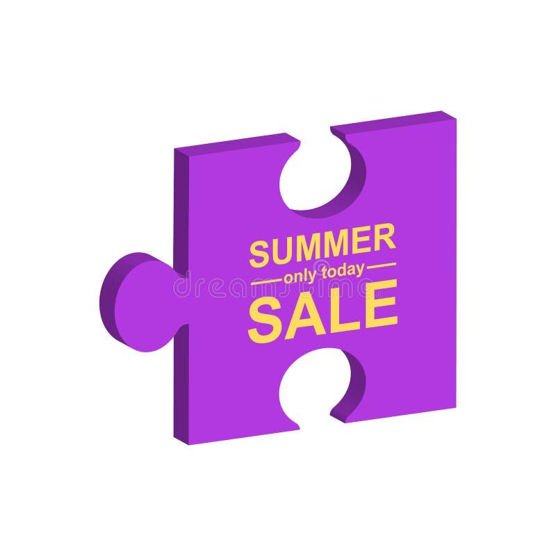 Vendita di estate Elemento del manifesto di vendita Puzzle illustrazione vettoriale