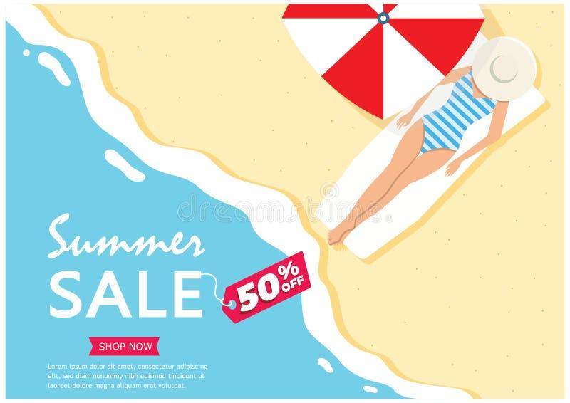 Vendita di estate Fino a 50% fuori dalla grande insegna della barra laterale di vendita, manifesto, autoadesivo, promozione di pu royalty illustrazione gratis