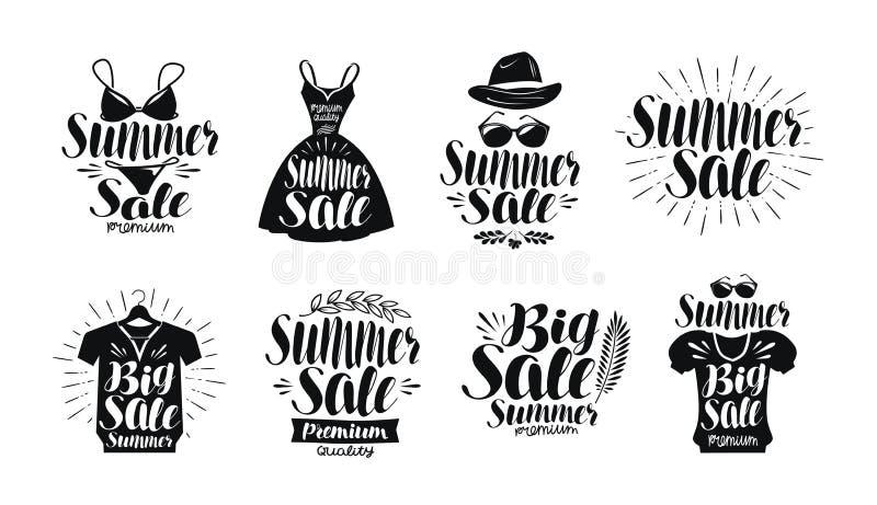 Vendita di estate, insieme di etichetta Modo, boutique, negozio di vestiti, icona di compera o logo Iscrizione scritta a mano, ca illustrazione vettoriale