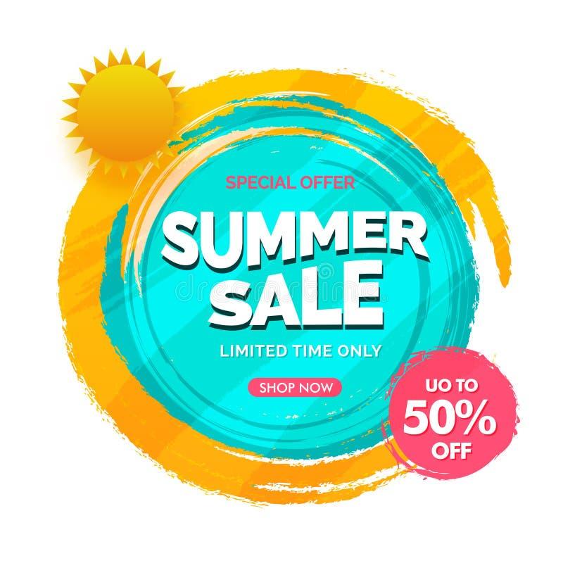 Vendita 50% di estate progettazioni fuori, del manifesto, dell'insegna o dell'aletta di filatoio illustrazione di stock