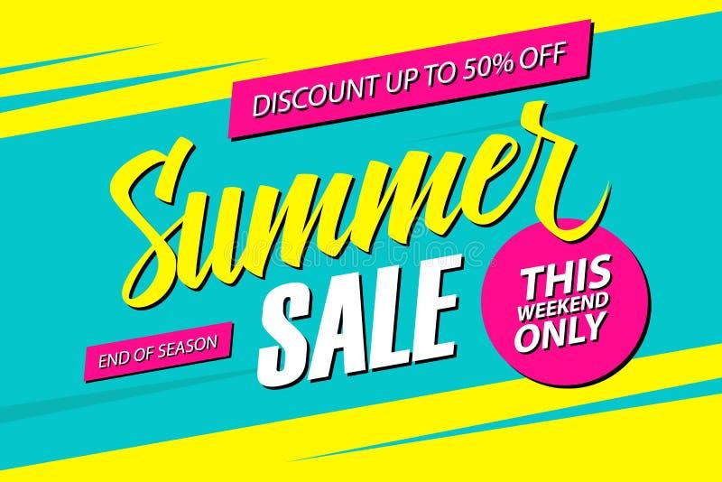Vendita di estate Questa insegna di offerta speciale di fine settimana, sconta 50% fuori Conclusione della stagione royalty illustrazione gratis