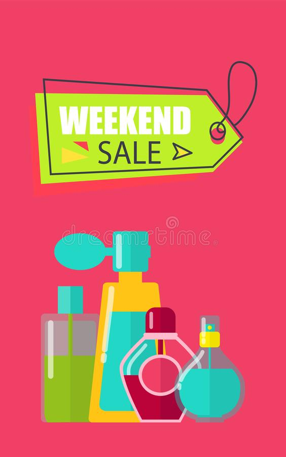 Vendita di fine settimana sull'illustrazione di vettore dei cosmetici royalty illustrazione gratis