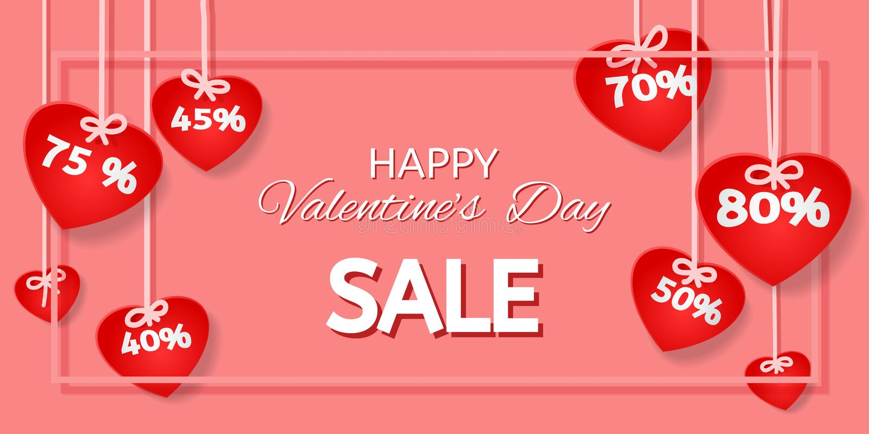 Vendita di giorno del ` s del biglietto di S. Valentino fotografia stock