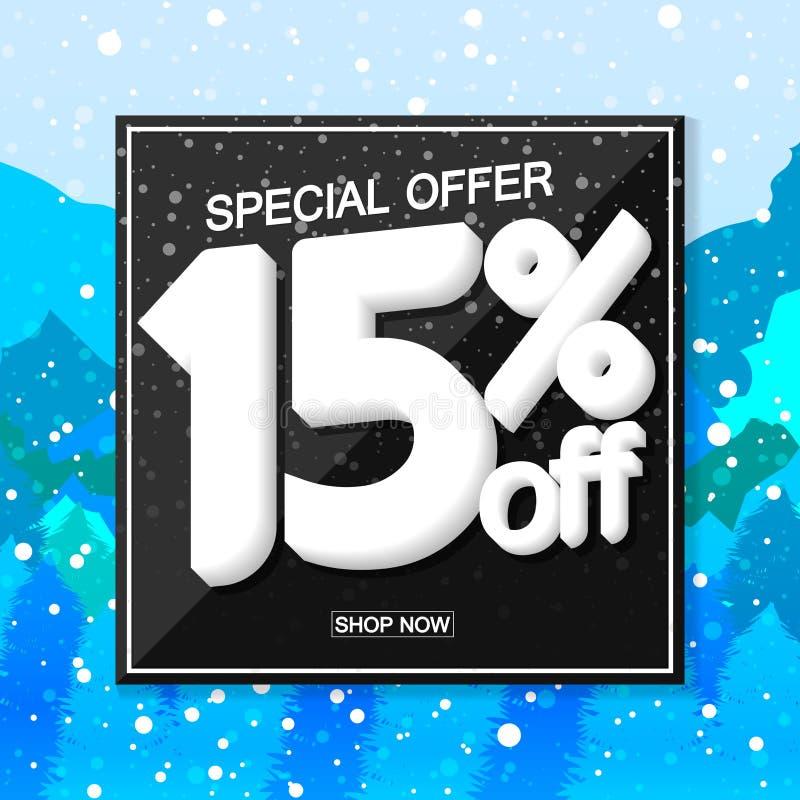 Vendita 15% di inverno fuori, modello di progettazione del manifesto, offerta speciale, illustrazione di vettore illustrazione vettoriale