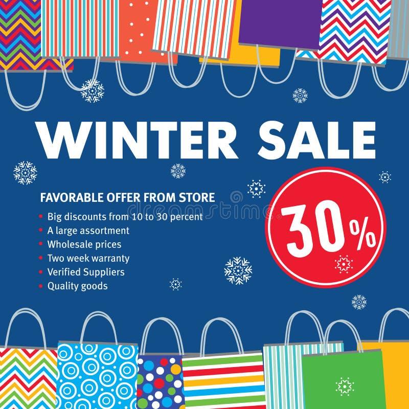 Vendita 30% di inverno Le varie borse su fondo e sui fiocchi di neve blu cadono illustrazione di stock