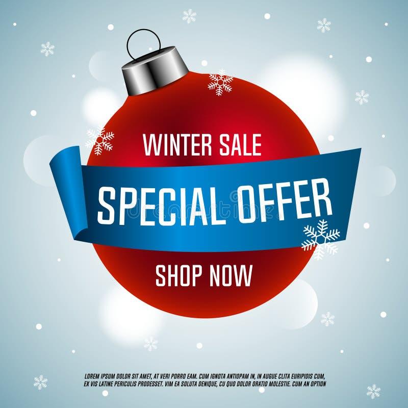 Vendita di inverno Offerta speciale Sfera rossa di natale con il nastro blu royalty illustrazione gratis