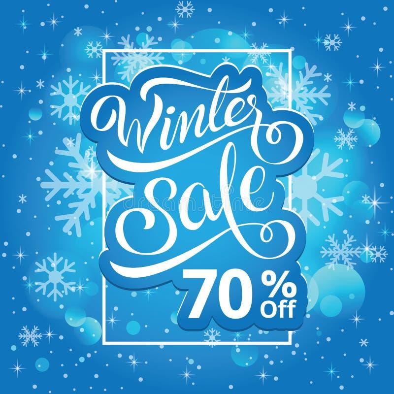 Vendita di inverno un'insegna di 70 per cento, modello del manifesto Tema di inverno illustrazione vettoriale