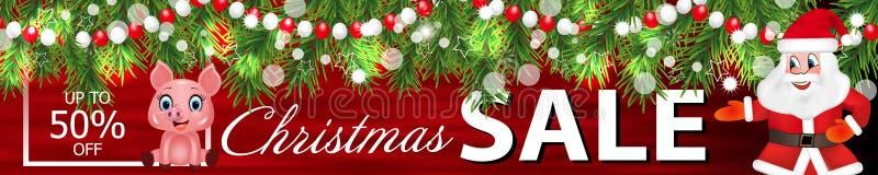 Vendita di Natale dell'insegna con Santa Claus, ghirlanda dei rami dell'albero di Natale e del simbolo sveglio dello zodiaco del  royalty illustrazione gratis