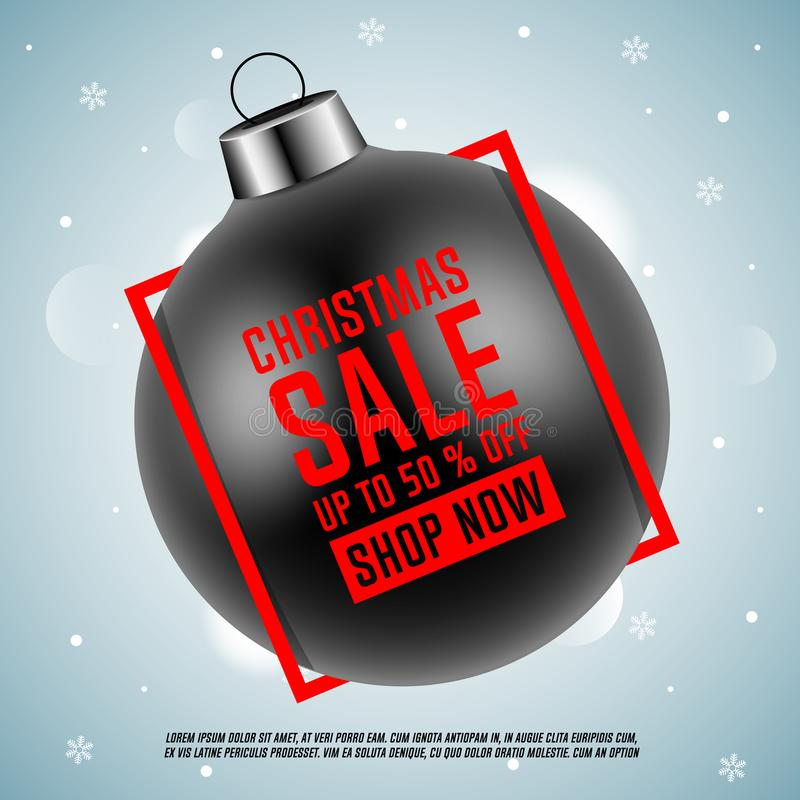 Vendita di natale Palla nera di Natale con la struttura rossa illustrazione vettoriale