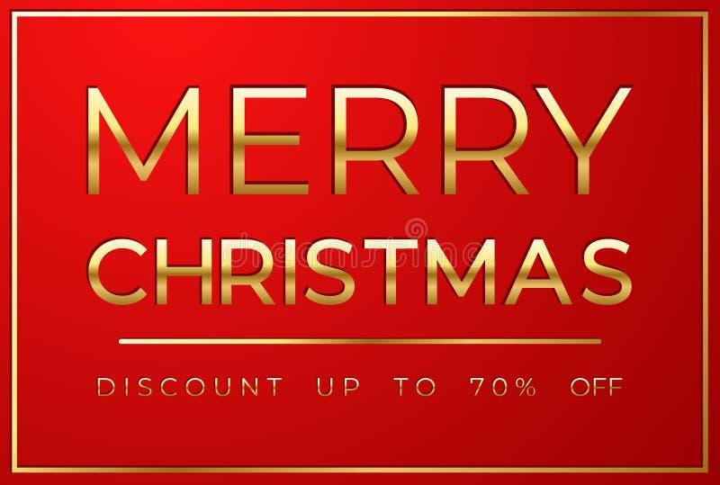 Vendita di Natale su fondo rosso illustrazione di stock