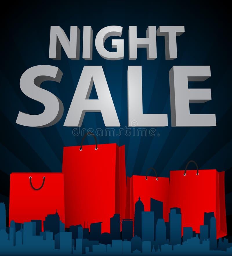 Vendita di notte con il sacchetto della spesa in città illustrazione di stock