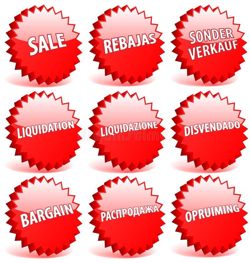 Vendita di parola nei linguaggi differenti. illustrazione di stock