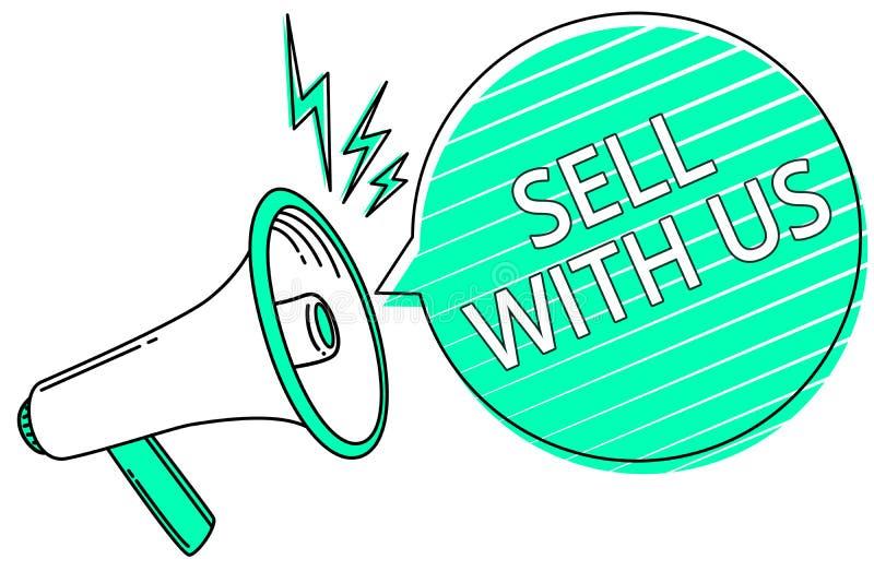 Vendita di scrittura del testo della scrittura con noi Concetto che significa online vendita della piattaforma che cerca lo del m illustrazione vettoriale