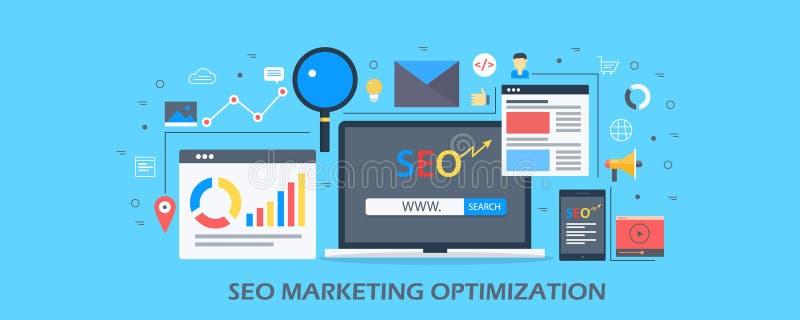 Vendita di Seo - ottimizzazione di ricerca - contenuto del sito Web e concetto di analisi dei dati Insegna piana di vettore di pr illustrazione vettoriale