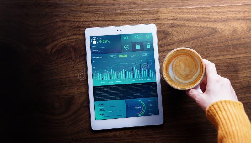 Vendita di tecnologia, di finanza e di affari nel concetto di vita di tutti i giorni Donna con caffè caldo che vede i grafici ed  fotografia stock libera da diritti