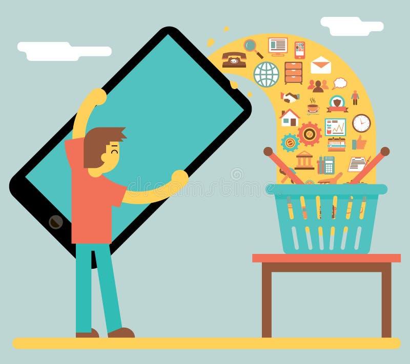 Vendita di vendita ed icona mobili online di concetto dell'affare royalty illustrazione gratis