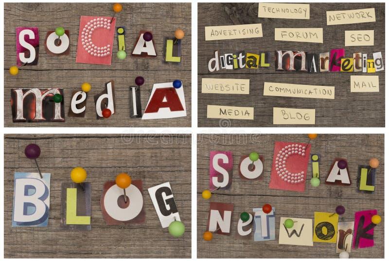 VENDITA DIGITALE del SOCIALE MEDIA/NETWORK/BLOG/di titoli immagine stock