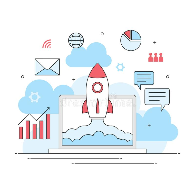 Vendita digitale della giovane impresa, commercio infographic di Internet illustrazione di stock