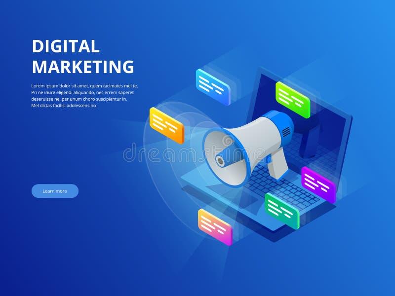 Vendita digitale isometrica, vendita di affari, successo e scopi, nuovo concetto startup di progetto illustrazione di stock