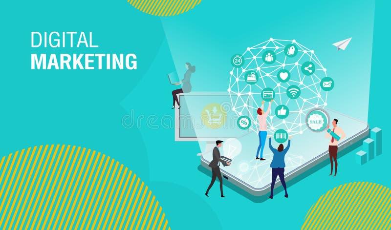 Vendita digitale, lavoro di squadra, strategia aziendale e analisi dei dati di affari illustrazione vettoriale