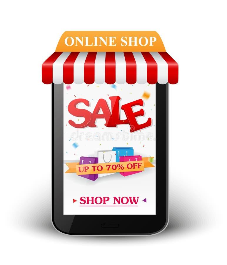 Vendita e concetto online del negozio royalty illustrazione gratis