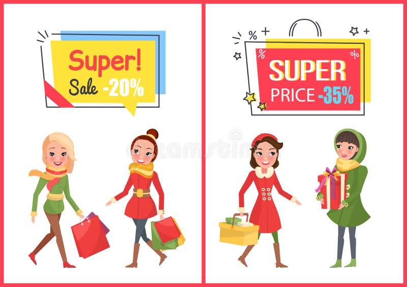 Vendita ed offerta eccellenti, insieme delle insegne di prezzo ridotto royalty illustrazione gratis