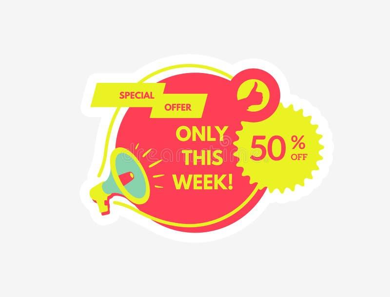 Vendita ed offerta speciale 50% fuori Megafono con discorso della bolla Concetto per la promozione e la pubblicit? Illustrazione  illustrazione di stock