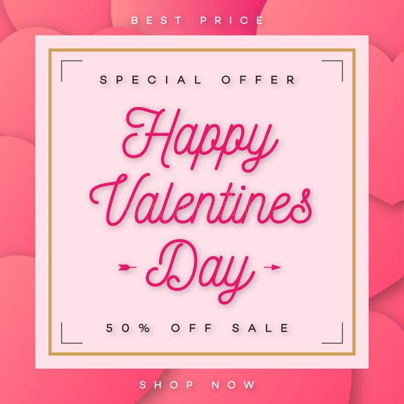 Vendita felice dell'insegna dei biglietti di S. Valentino con l'offerta speciale con la struttura dell'oro e del bordo illustrazione vettoriale