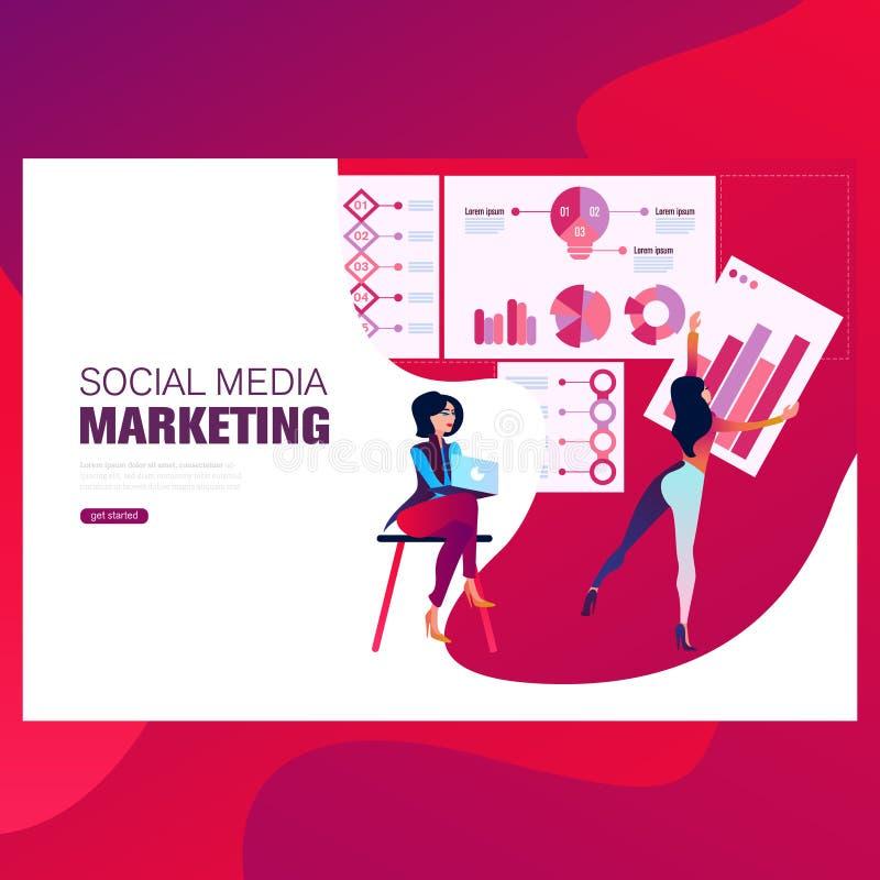 Vendita, finanza e vendita forsocial di media dei modelli di progettazione della pagina Web Concetti moderni dell'illustrazione d royalty illustrazione gratis