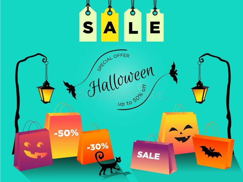 Vendita fino a 50% di Halloween fuori con le etichette di vendita Insegna con le borse, un gatto nero che cammina, volo di promoz illustrazione di stock