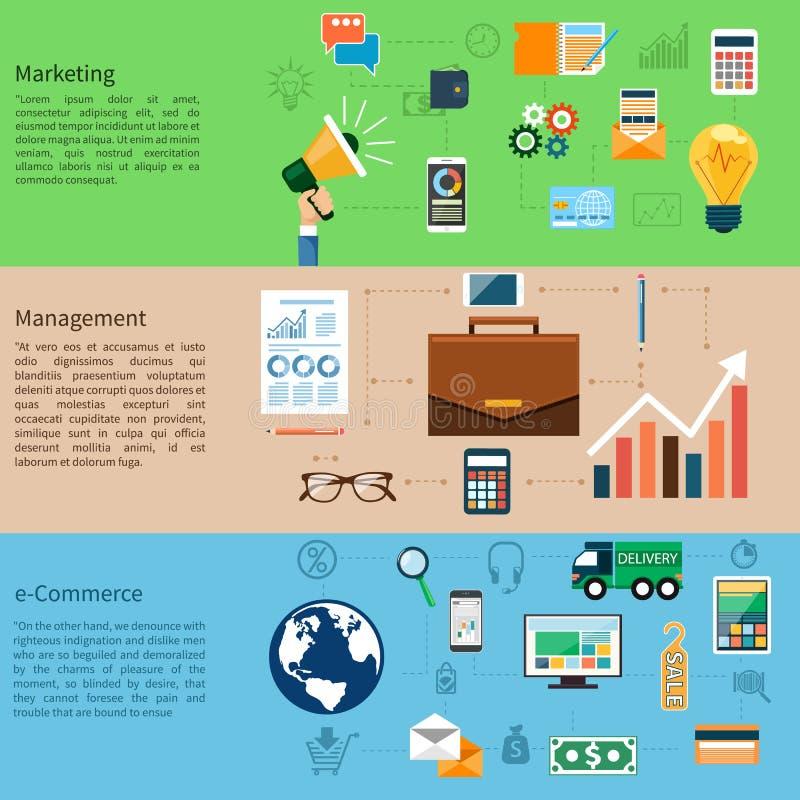 Vendita, gestione e commercio elettronico illustrazione di stock