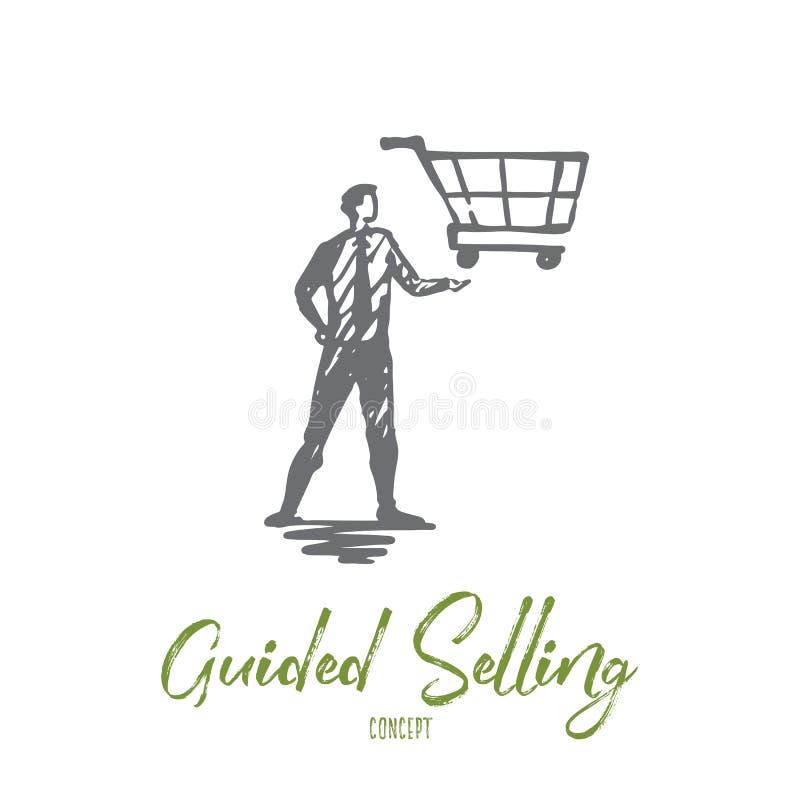 Vendita guida, negozio, mercato, canestro, concetto del cliente Vettore isolato disegnato a mano illustrazione vettoriale